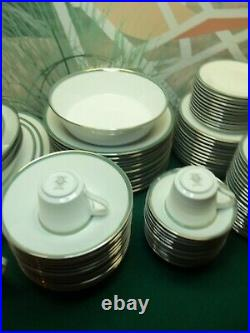 106 Piece Set Of Noritake China Pattern 6538 Royale Mint Green/sliver Rim