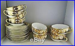 10 Noritake China 20056 Black Christmas Ball Cup & Saucer Sets Gold Encrusted