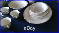 12 Place Noritake Ivory Platinum Rim China Set #7565 + 7 Serving Pieces EUC