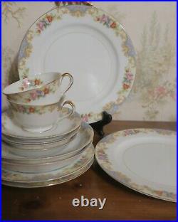 12 pc Blue Vintage Noritake Imperial China Service for 2 Starter Dinnerware Set