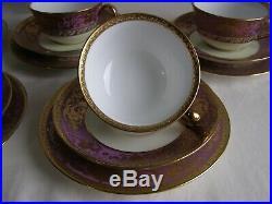 1930s Japanese Noritake bone china 22 piece tea set with heavy raised gilding
