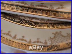 20 Pc Set /Steubenville China Four 5Pc Place Settings Ivory Black and Gold Rims