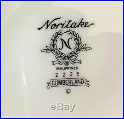 25 Pc Noritake Cumberland Fine Bone China Set for 4+ Serving White Platinum 2225