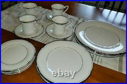25 piece Noritake China Place Settings, Sterling Cove #7720, Silver & Ivory