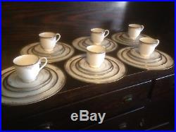 30 pc. NORITAKE CHINA ONTARIO 6 PLACE SETTING #3763-DINNER, SALAD, BREAD, CUP, SAUCER