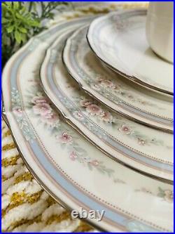 39 PC Set Noritake Ivory China Rothschild 7293 Japan Blue Pink Floral Platinum