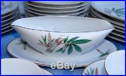 46 Pc Noritake China CANTON Dinnerware Service for 6 & Serving Set Green Bamboo