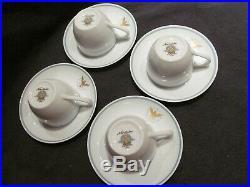 4 PAN AM PRESIDENT demitasse cup & saucer set NORITAKE vintage airline china