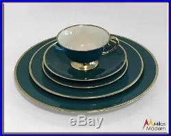 60s Mid Century Modern Estate China 67 Pc. Set Flintridge CA Sylvan Teal Gold
