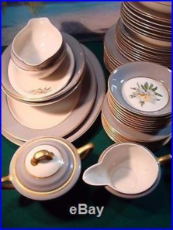 65 Piece Set Of Princess China Tru-tone Golden Peony, Complete Service For 8