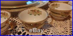 72 piece set of 1915 Antique Noritake China with rare green floral m mark