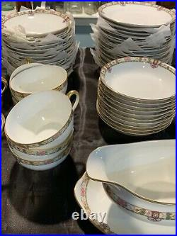 76 PC SET NORITAKE FINE CHINA With Floral Gold Trim d779