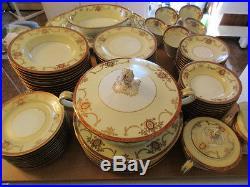 84 vtg Noritake China Rainbow 3982 Hand Painted Cream & Red Set Estate Listing