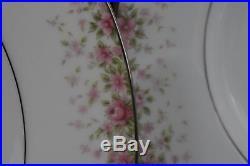 92 Pcs Noritake Faye China Set Pink Flowers Platinum Trim Service For 12 +