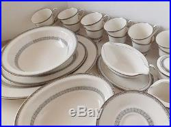 92 Pieces 12 Place Settings, 7055 Burgundy by Noritake, Vintage China Dinner Set