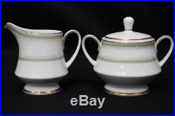 92pc Noritake EUGENIA China Set White Flower on Green Shade MINT Service for 12