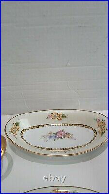 ANTIQUE 1921 Noritake Wildfleur China 7 Piece Multicolor Floral Serving Set