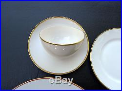 ANTIQUE NORITAKE NIPPON CHINA PURE WHITE / GOLD RIM 20 PIECE SET Dinner for 4