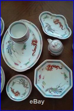 Antique China Set Dragons Phoenix Clouds Lotus 37 pc RARE DESIGN RC Noritake