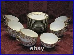 Antique Noritake 175 Christmas Ball China Cups and Saucers -Set of 11+ Nice