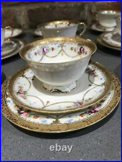 Antique Noritake China Part Tea Set 1920s Gold Gilt Roses Peonys 25 Pieces Vgc