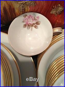 Antique Pink Roses Noritake China Set Gold Rims Beautiful JAPAN