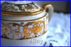 Antique Vintage Noritake Fine China Cobalt Embossed Gold Tea Service Set Teapot