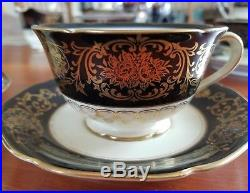 Beautiful Noritake China Tea set service 23 piece black ivory gold red M 1920's