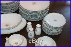 Beautiful Platinum Trim Noritake Bessie 5788 China Set 90 Pieces MINT