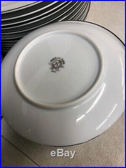 Brand New Noritake China Fremont White Platinum Trim 58 Pieces Set