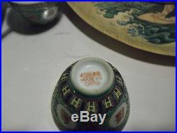 China Tea Set with tray Oriental Rose Famille Bamboo Rice Wine Sake Sea Nimph