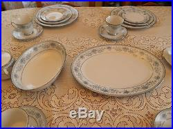 Contemporary China Noritake Blue Hill #2482 Set for 8 with 8 Serving Pieces 6-5