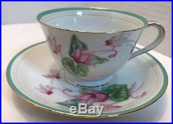 Cyclamen China by Noritake Pink Flowers, Thin Green Band Lot 74 pieces (Set 12)