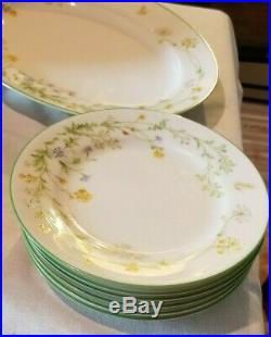 Dinner Set Noritake China Reverie 7191 Green Trim Lot (41 Pieces)