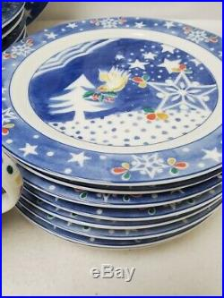 EPOCH Noritake china Mr. Snowman service for 8 + serving 33 piece set less 1 mug