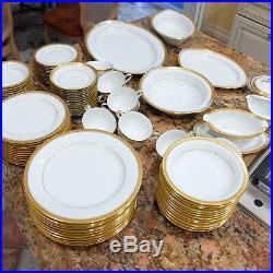 EUC+ Noritake Goldridge 12 Place Setting 96 Piece Encrusted Band Fine China Set