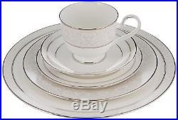 Elegant Platinum Dinnerware Set 5 Piece Place Setting Fine Bone China Tableware