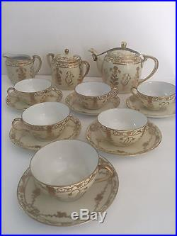 FANTASTIC Noritake Nippon M China 15 Pc Hand Painted Gold Gilded Tea Set