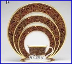 Gold Bone China 5 Piece Dinnerware Set Collection Round Lead Free Gold Band New