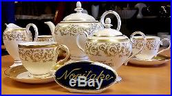 LUXURY PORCELAIN NORITAKE Tea Set 22k Gold Plated Excellent Quality Bone China