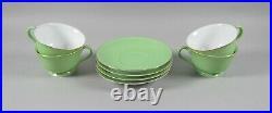 Lot of 4 Noritake China TOKI KAISHA-LIME GREEN/GOLD TRIM Cup & Saucer Sets