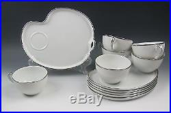 Lot of 6 Noritake China SILVERDALE Snack Plate and Cup Sets EXCELLENT