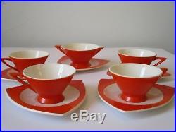 Midcentury Modern Art Deco Atomic Salem China Futuristic Orange Coffee Set