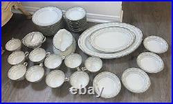 NORITAKE 43-Piece Platinum Trim Bone China Set Margaret