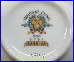 NORITAKE BAMBINA Tea Set Bamboo TEA POT Sugar Bowl Creamer & 10 Cups CHINA 5791