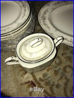 NORITAKE Bone China Set, SHENANDOAH PATTERN 9729 Tea Roses Platinum 48pcs