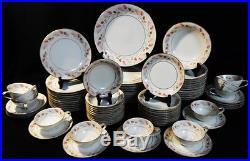 NORITAKE CHINA #5692 Pink/Brown Leaves on Rim, Gold Circle/Trim SETTING FOR 12