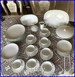 NORITAKE CHINA -FREMONT -WHITE PLATINUM TRIM 46 PIECES SET. Classy And Elegant