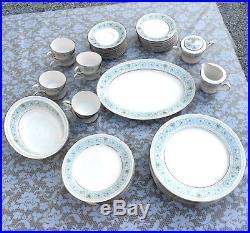 NORITAKE Ivory China Blue/Green 44pc MONTELEONE SET #7569 Settings for 8+Serving