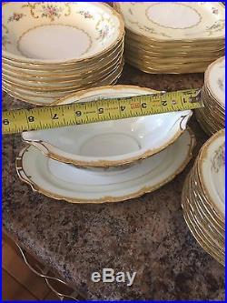 NORITAKE LOTUS PATTERN ANTIQUE M 8 PPL 48 PC Dishes China Plates Set